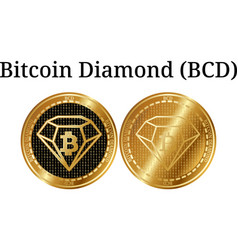 Set of physical golden coin bitcoin diamond bcd vector