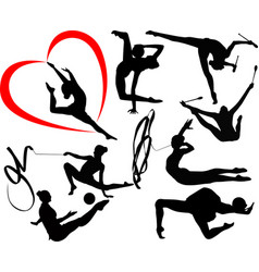 set of silhouettes girl gymnast athlete isolated vector image