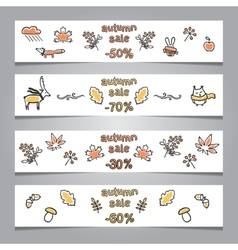 Set of web banners with autumn vector image