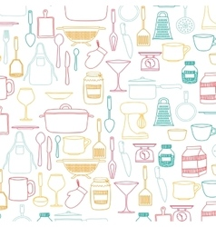 silhouette colorful set of kitchen utensils vector image