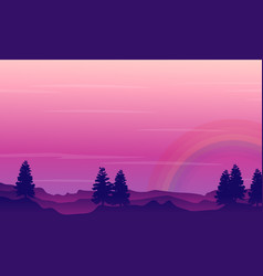 Silhouette of hill with rainbow scenery vector