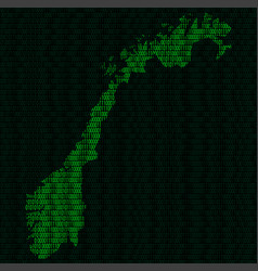 Silhouette of norway from binary digits vector
