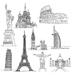 Sketches of Famous Places vector