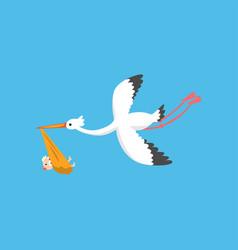 stork delivering cute newborn baby flying bird vector image