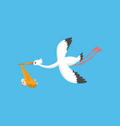 Stork delivering cute newborn baflying bird vector