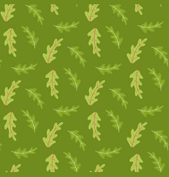 summer seamless pattern with oak leaves on green vector image