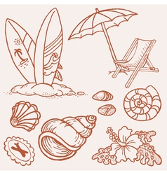 Summer seaside doodles vector