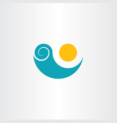 Sun tourism beach water wave icon vector