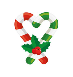 Sweet canes christmas isolated icon vector