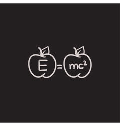 Two apples with formulae sketch icon vector image