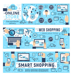 Web shopping e-commerce infographics vector