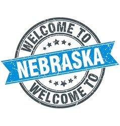 Welcome to Nebraska blue round vintage stamp vector