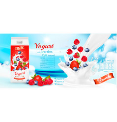 white yogurt with fresh berries in box vector image