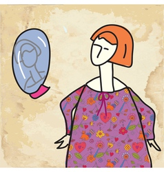 Woman and mirror funny card vector image