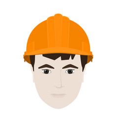 Working man in orange hard hat vector