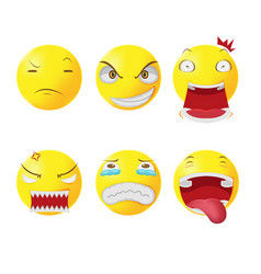 Yellow head face cartoon emotion vector