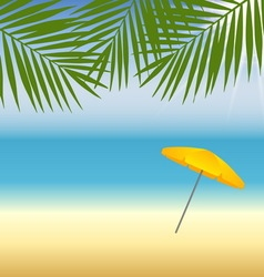 yellow parasol at beach under palm trees vector image