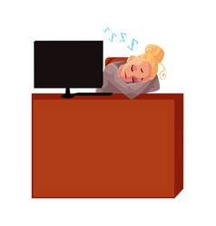 Young pretty blond businesswoman secretary vector