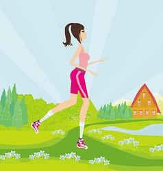 Young woman jogging at park vector