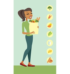 Young woman with a shopping bag vector