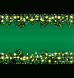 fir branch with neon lights on green background vector image vector image