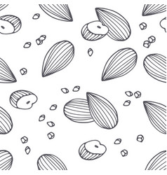 hand drawn outline seamless pattern with almond vector image