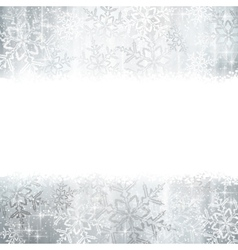 Silver Christmas winter background with snowflake vector image vector image