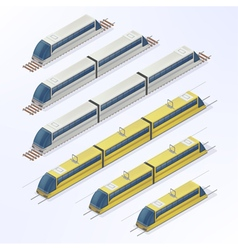 Trains and trams isometric set vector