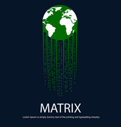 earth with tail in the form of matrix vector image vector image