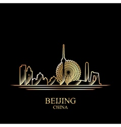 Gold silhouette of Beijing on black background vector image vector image