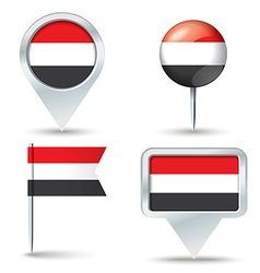 Map pins with flag of Yemen vector image