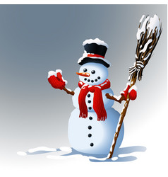 snowman winter background vector image vector image