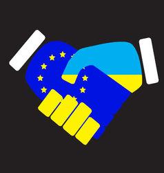 Symbol sign handshake European Union and Ukraine vector image