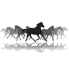 trotting horses silhouette background vector image vector image