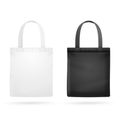 White and Black Fabric Cloth Bag Tote vector image vector image
