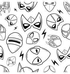 seamless pattern of super hero masks in linear vector image