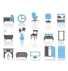 simple interior furniture icons setblue series vector image
