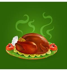 stuffed turkey with salad vector image vector image