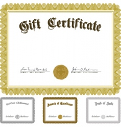 vector ornate award certificate set vector image
