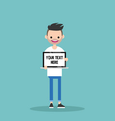 your text here young character holding a laptop vector image vector image