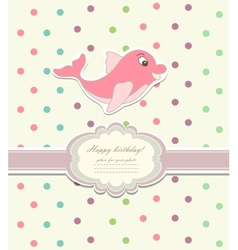 Baby card with dolphin toy vector image vector image