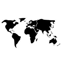 Black simplified world map divided to continents vector image vector image