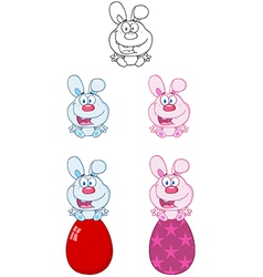 Bunny Sitting On An Egg Collection vector image vector image