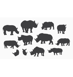 gray rhino silhouettes vector image