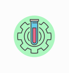 laboratory tube in gear icon vector image