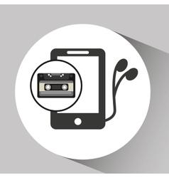 music cassette headphones vintage background vector image