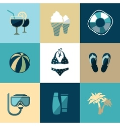 Summer vacation and beach flat icons vector image