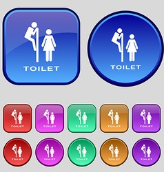 toilet icon sign A set of twelve vintage buttons vector image vector image