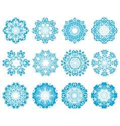 Twelve Circle Snowflakes vector image