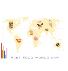 World Map with Fast Food and Sweet Food vector image vector image